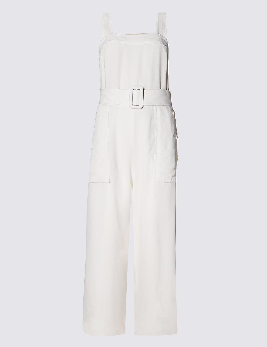 Cream Pinafore Jumpsuit